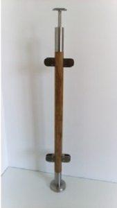 Ąžuolinis statramstis su stiklo laikikliais: Ø = 42.4 mm__ aukštis 960 mm__Kaina: 69 € + PVM